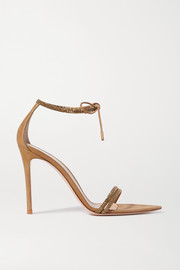 Gianvito Rossi Camnero 105 crystal-embellished iridescent suede sandals