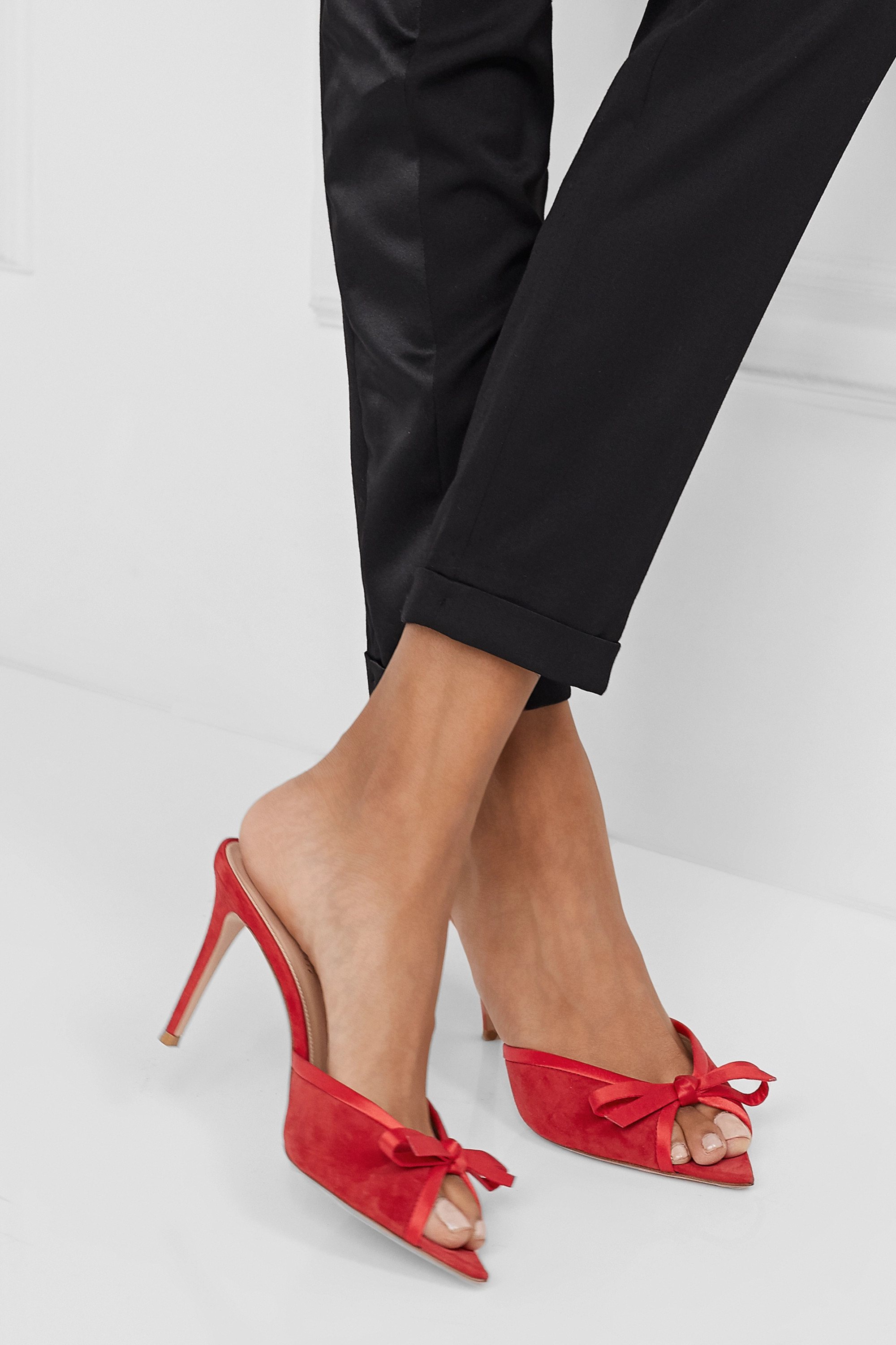 Red 85 bow-detailed satin-trimmed suede