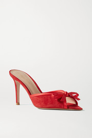 Gianvito Rossi 85 bow-detailed satin-trimmed suede mules