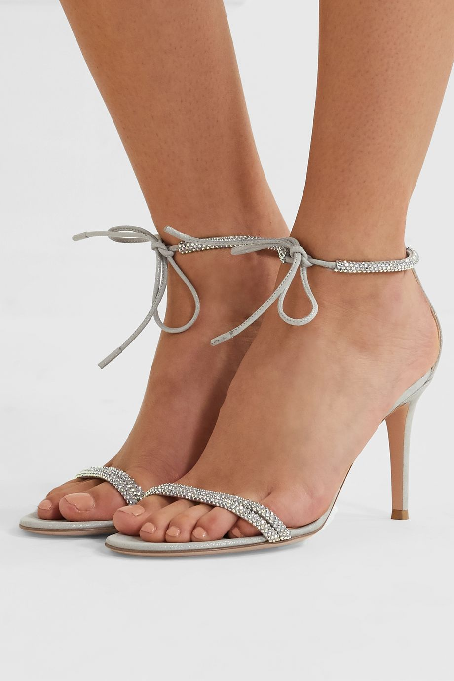 Gianvito Rossi 85 crystal-embellished iridescent suede sandals
