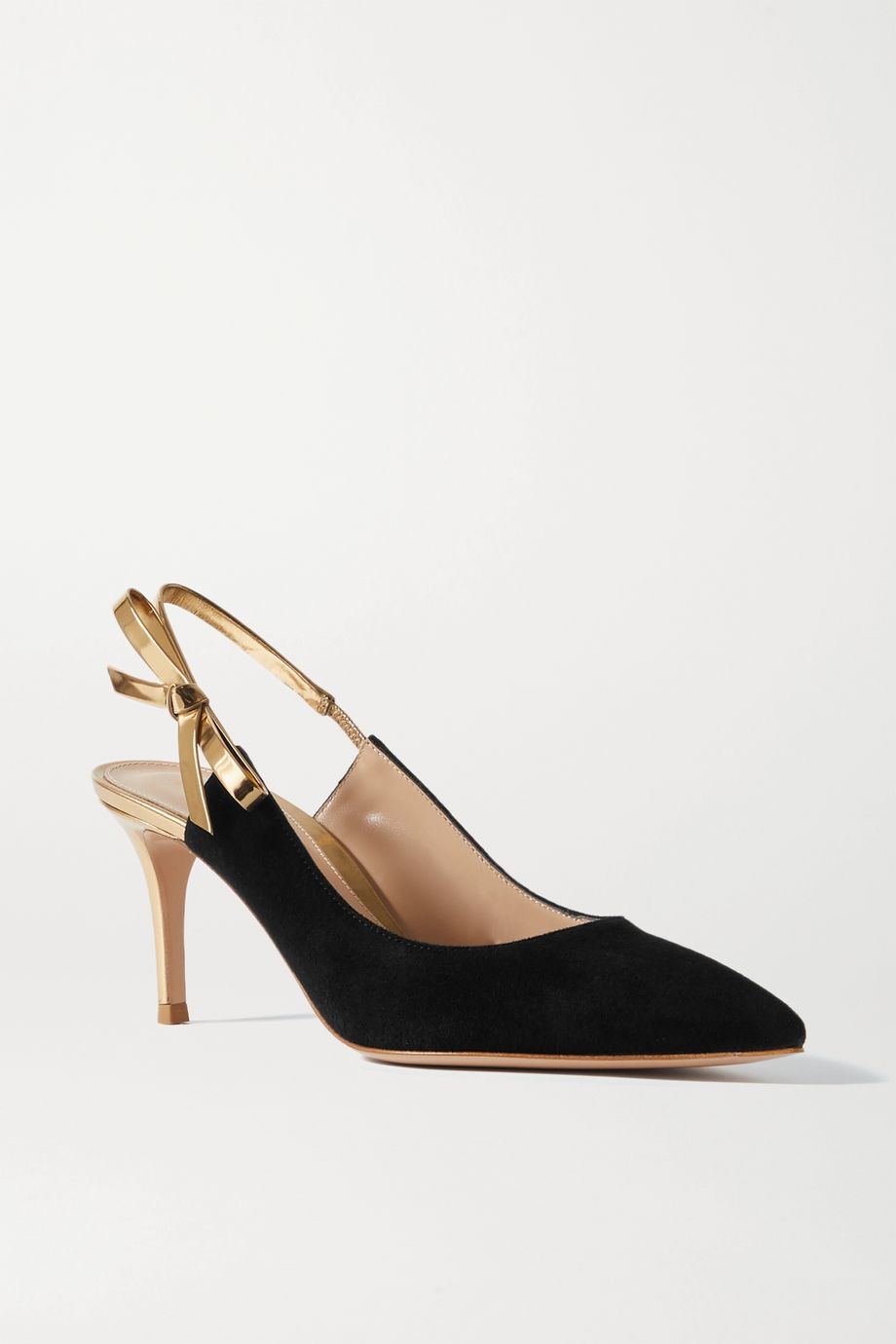 Gianvito Rossi 70 bow-embellished metallic leather and suede slingback pumps