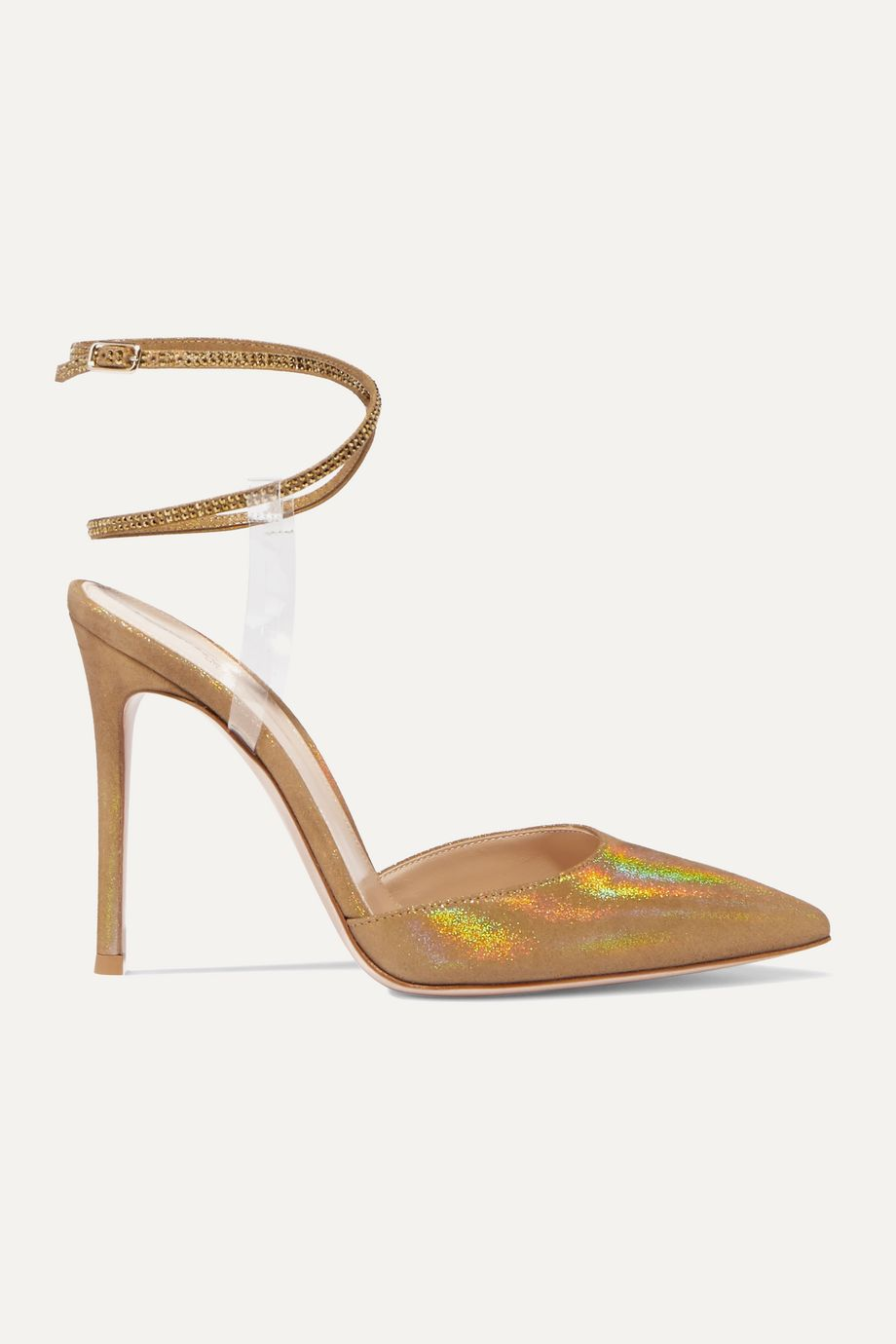 Gianvito Rossi 105 PVC-trimmed glittered faille and crystal-embellished suede pumps