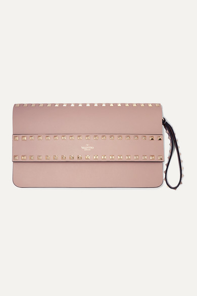 Valentino Garavani Rockstud Leather Clutch by Valentino