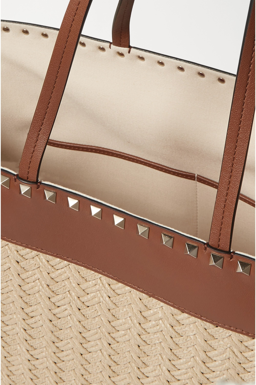 Valentino Valentino Garavani Rockstud medium leather-trimmed raffia tote