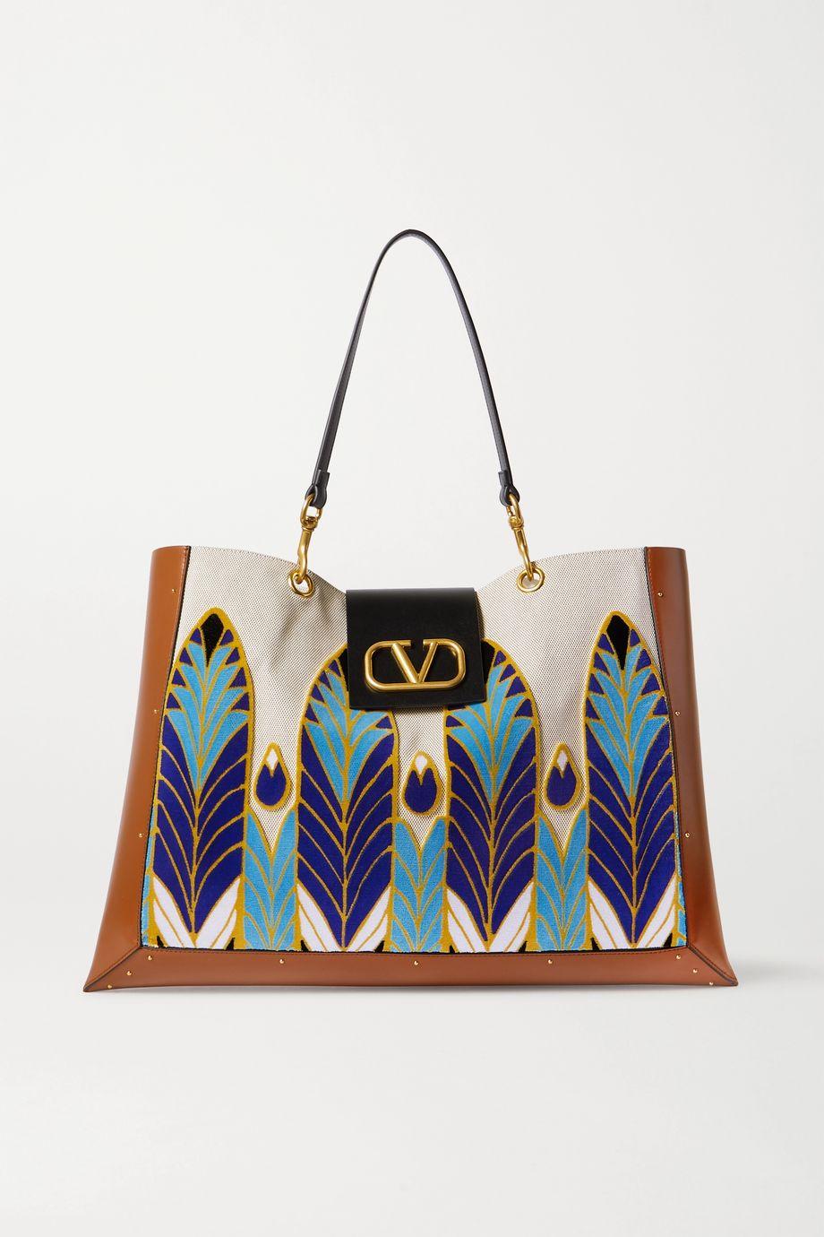 Valentino Valentino Garavani City Safari canvas, leather and velvet tote