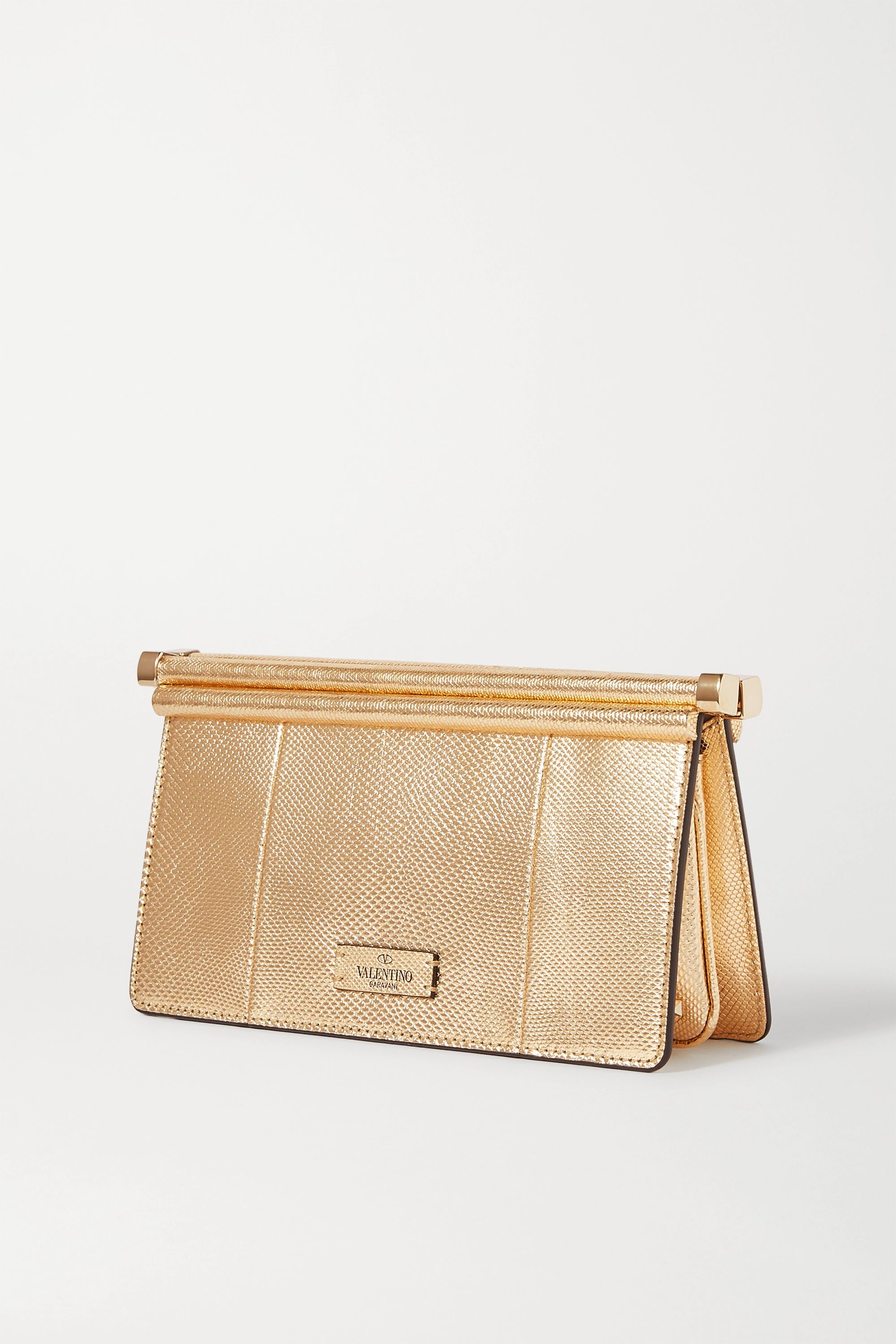 Valentino Carry Secrets metallic snake-effect leather clutch