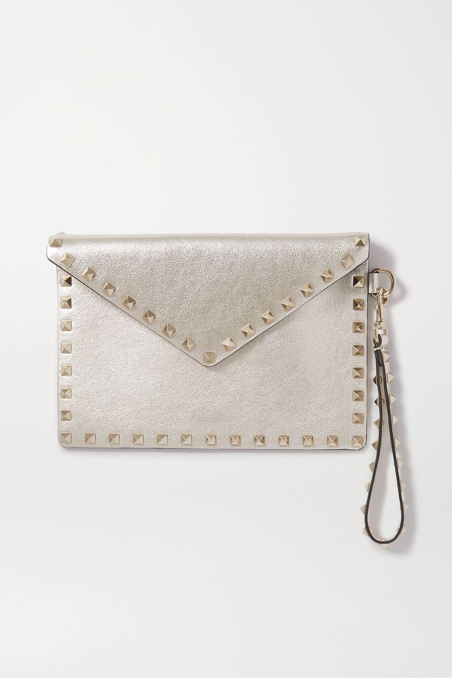 Valentino Valentino Garavani Rockstud metallic leather pouch