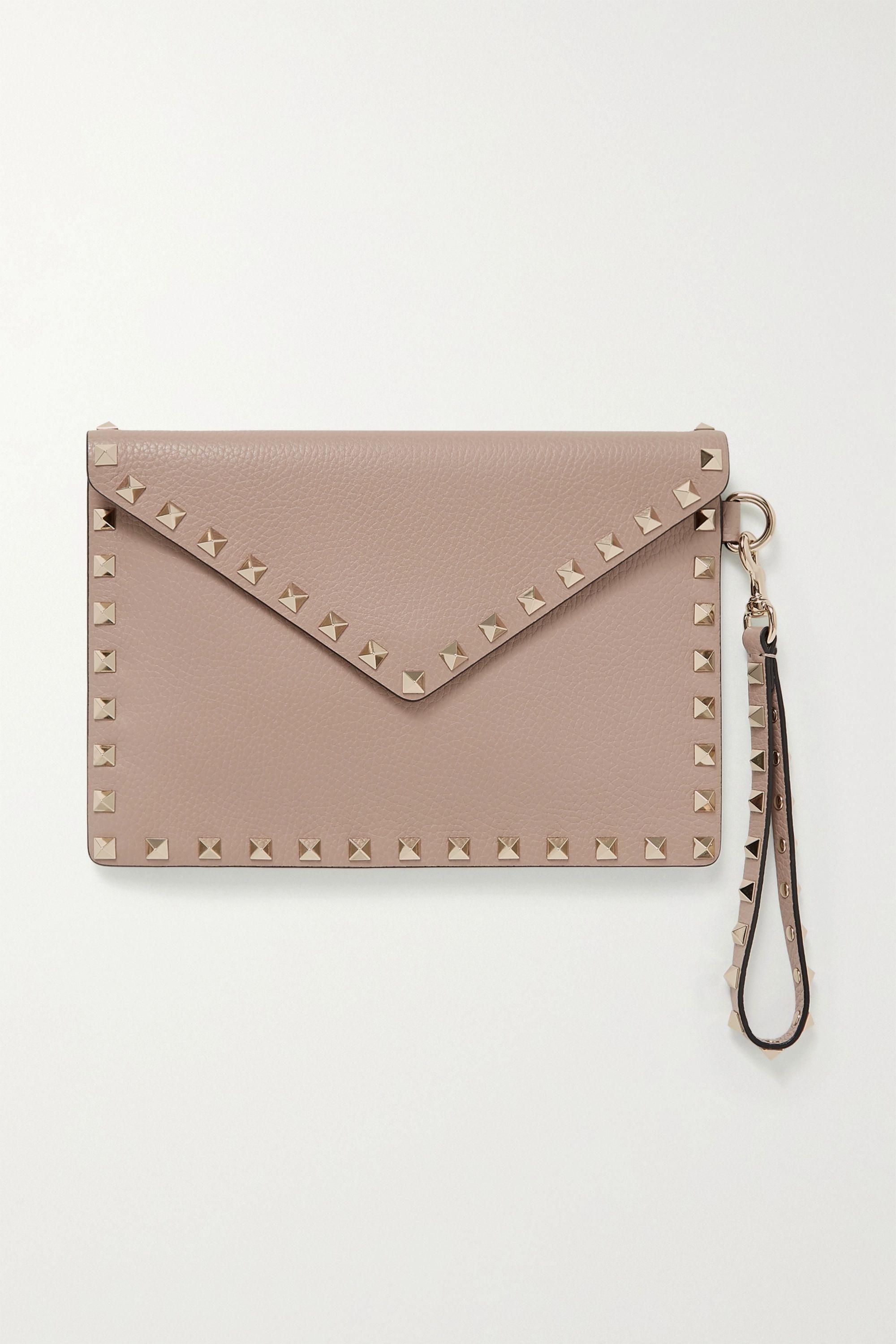 Valentino Valentino Garavani Rockstud textured-leather pouch