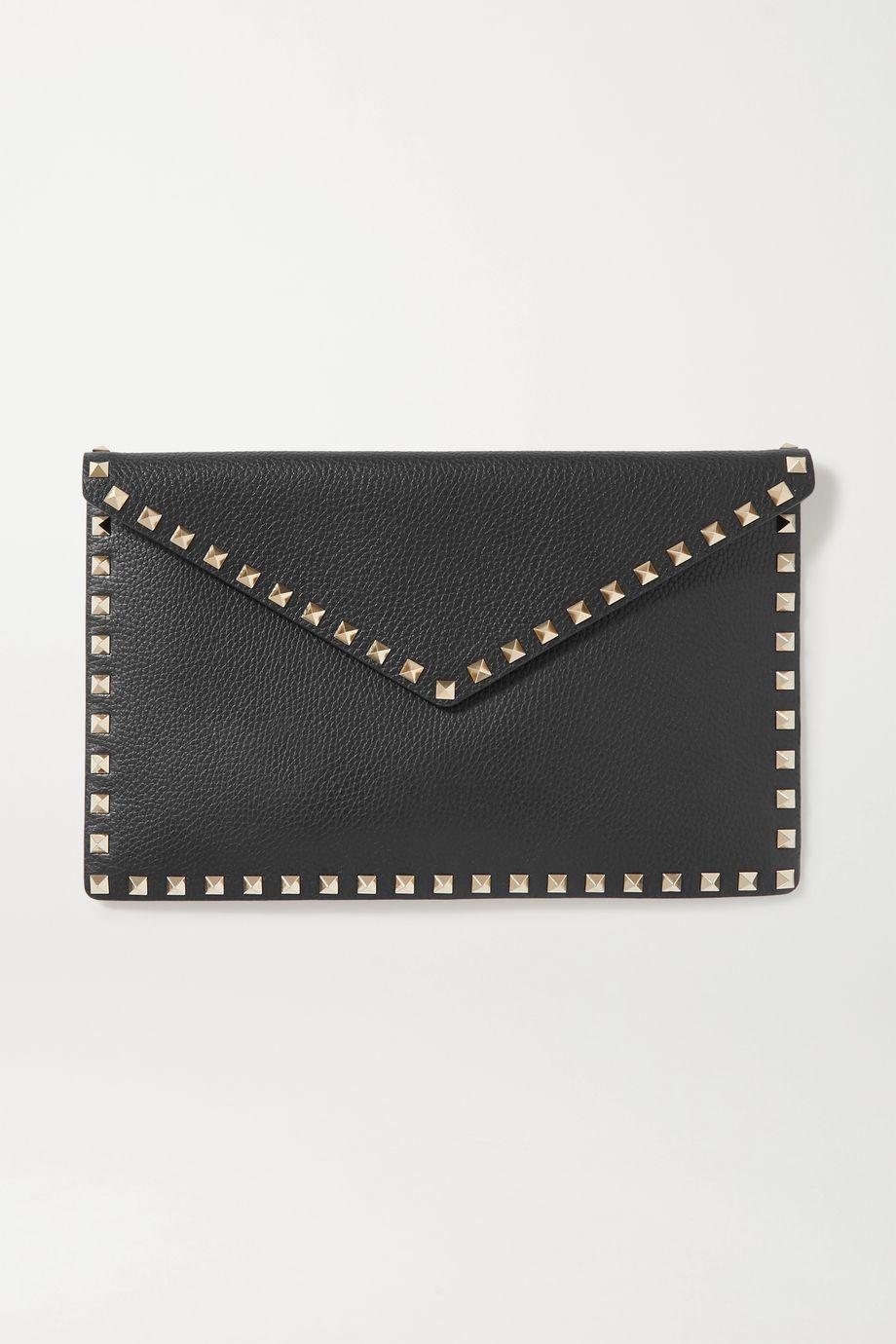Valentino Valentino Garavani Rockstud large textured-leather pouch