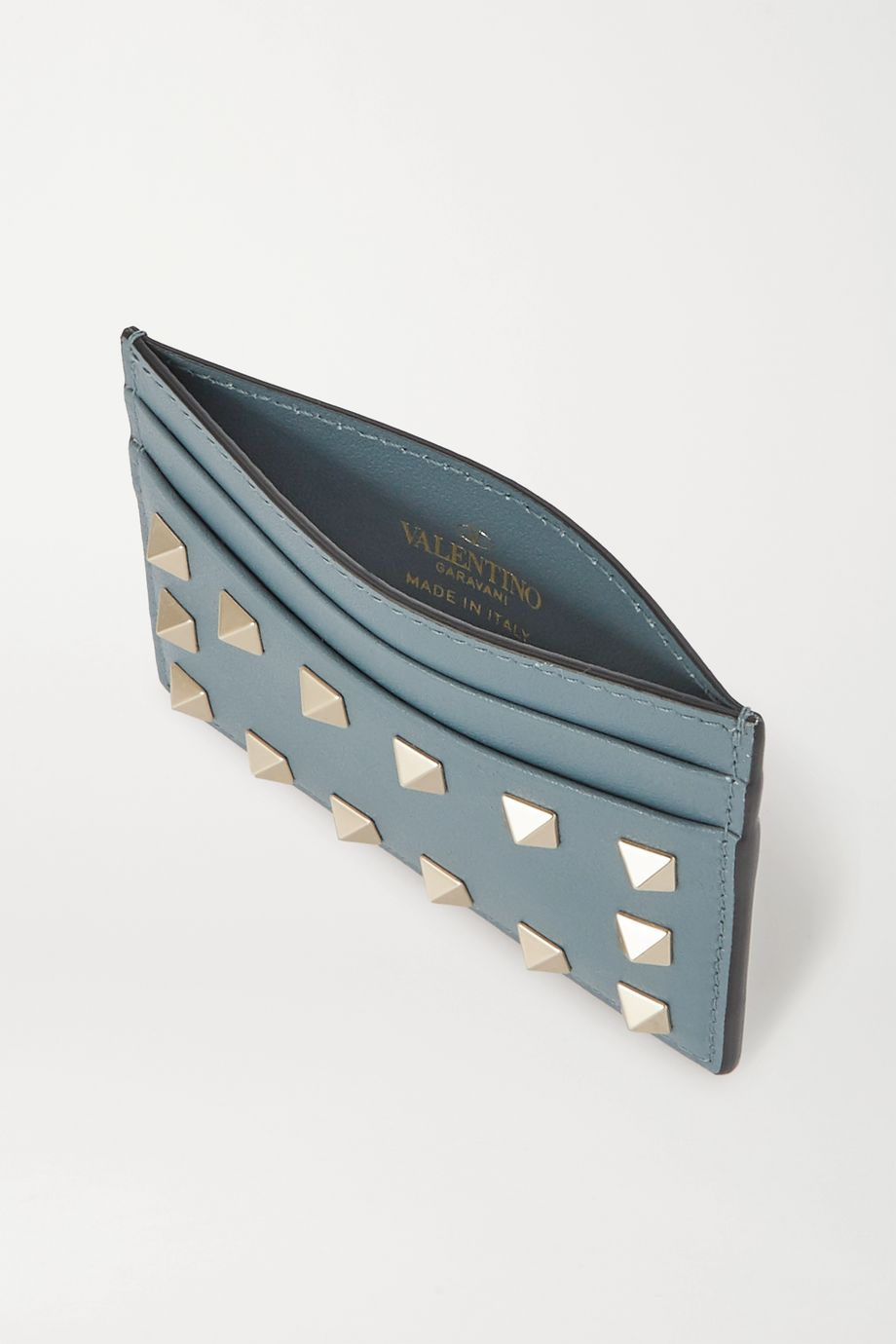 Valentino Valentino Garavani Rockstud textured-leather cardholder