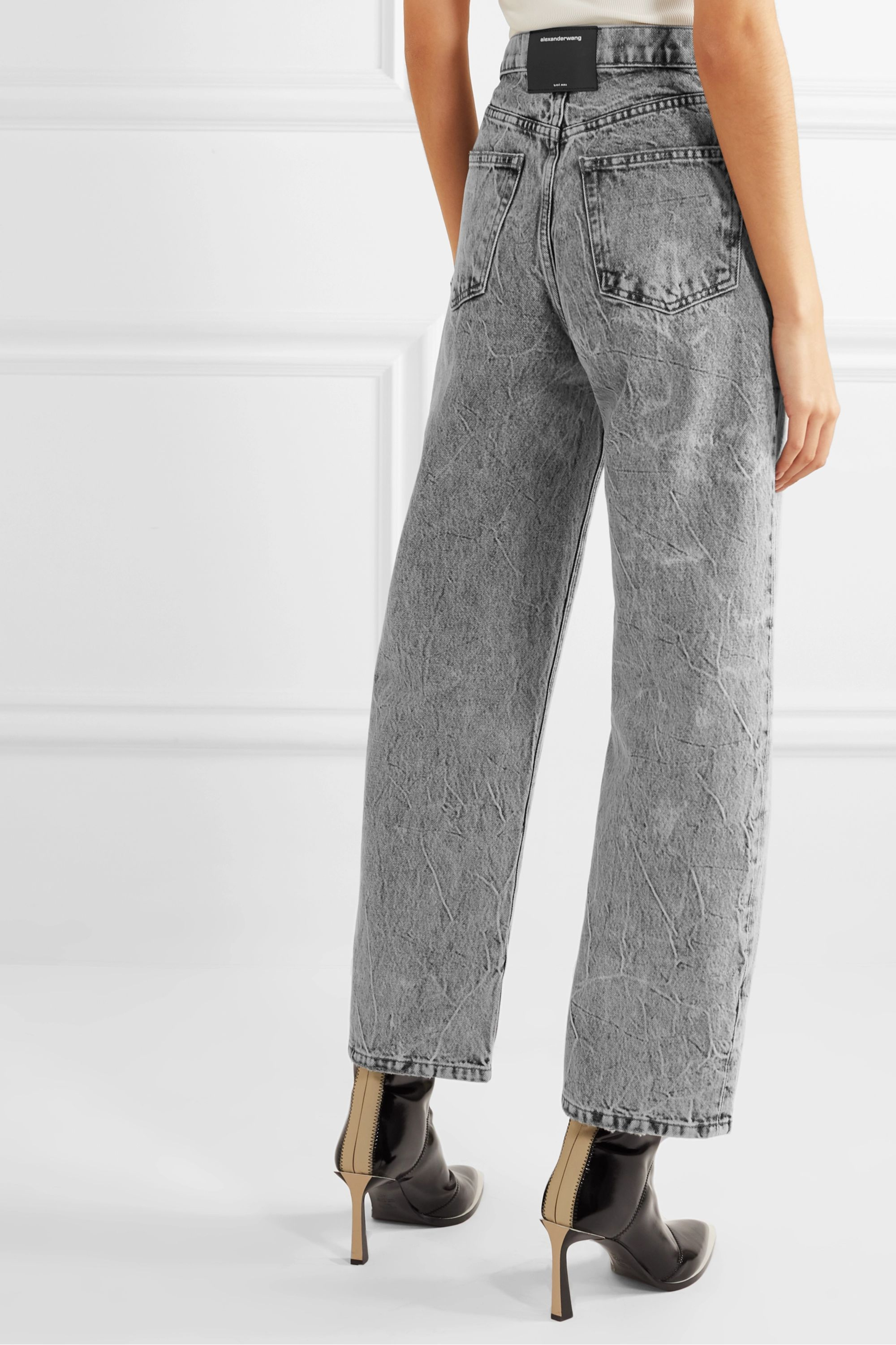 Alexander Wang Curb cropped acid-wash high-rise straight-leg jeans