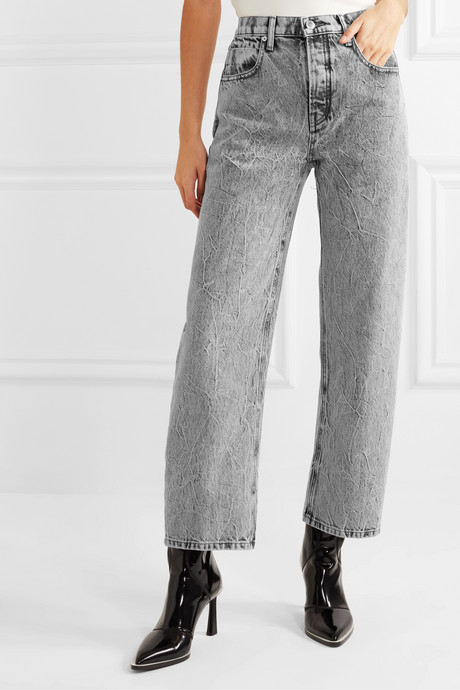 Curb cropped acid-wash high-rise straight-leg jeans