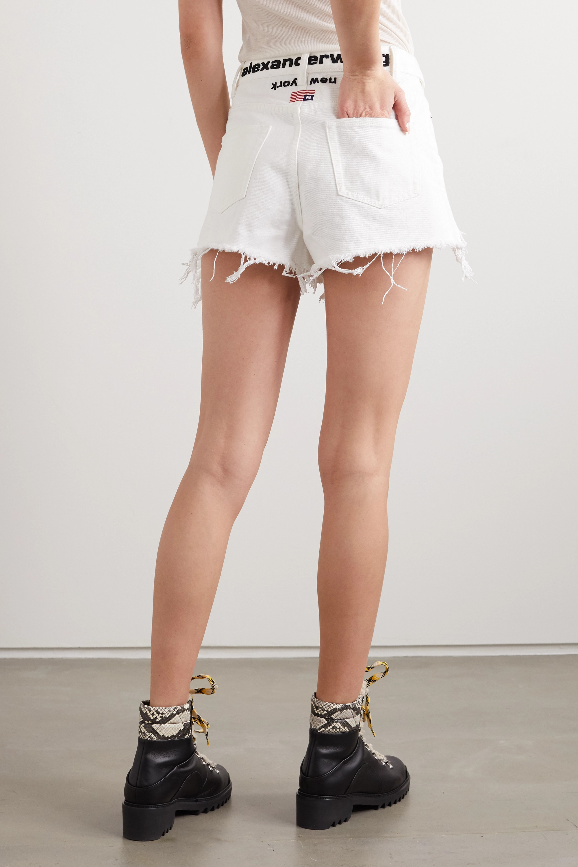 Alexander Wang Bite Flip fold-over embroidered distressed denim shorts