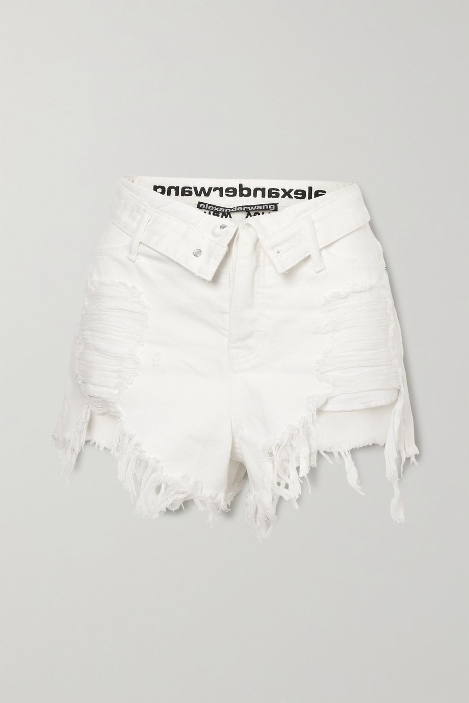Alexander Wang Bite Flip fold-over embroidered distressed denim shorts
