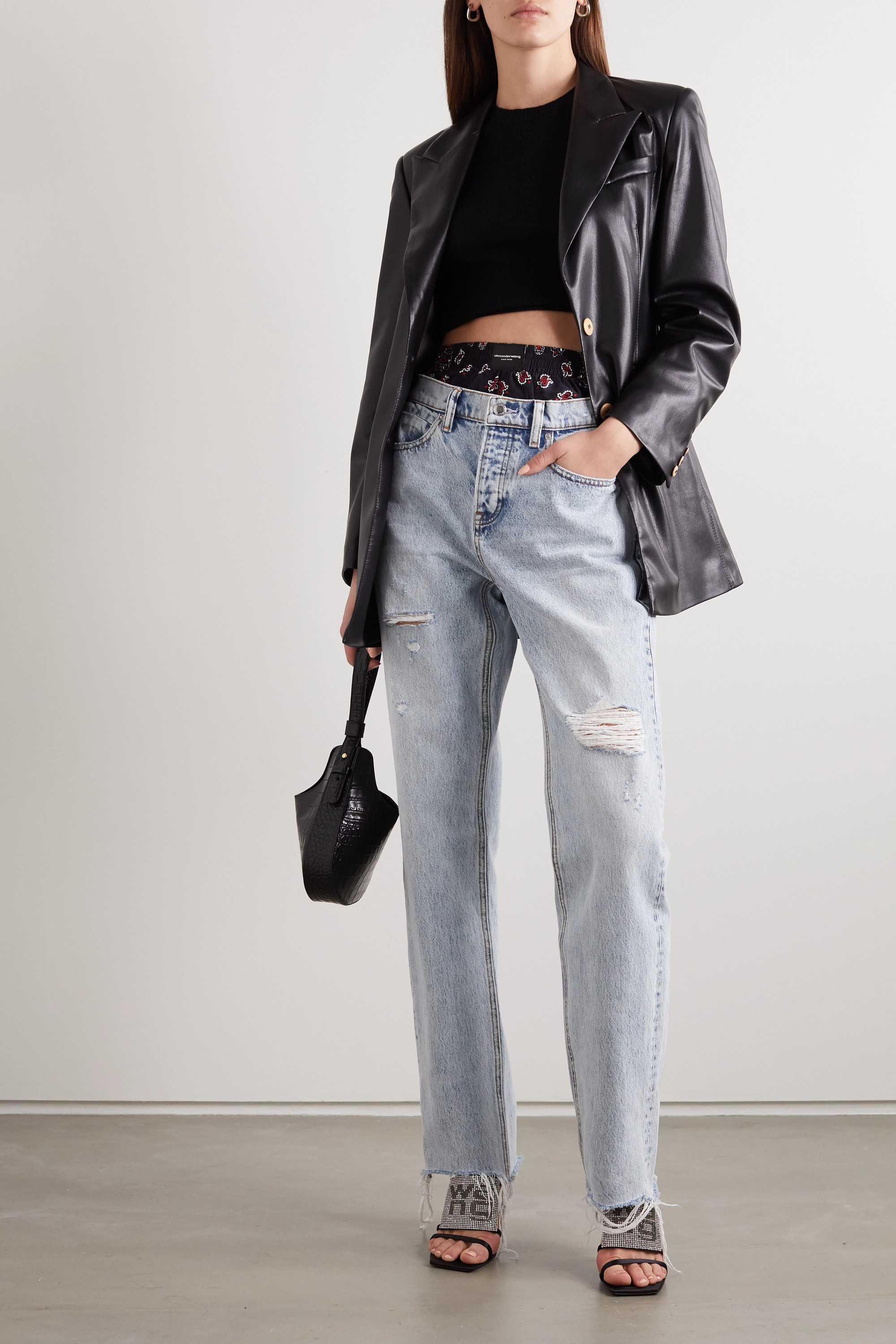 Alexander Wang Layered distressed high-rise straight-leg jeans