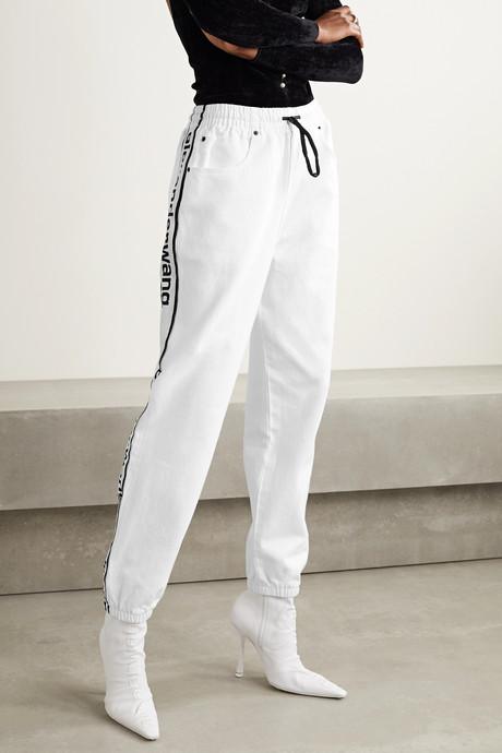 Striped denim track pants