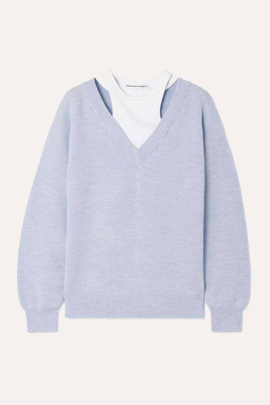 alexanderwang.t Mehrlagiger Pullover aus Merinowolle und Stretch-Baumwoll-Jersey