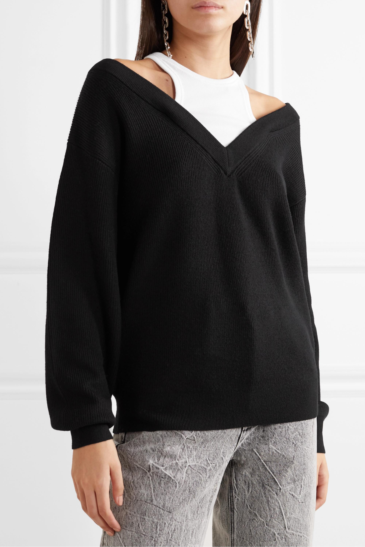 alexanderwang.t Layered merino wool and stretch cotton-jersey sweater