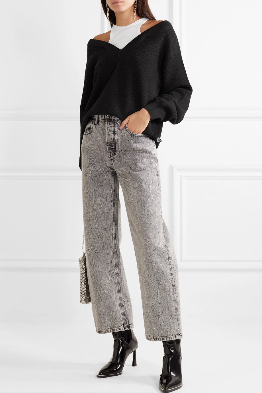 alexanderwang.t Layered merino wool and stretch cotton-jersey sweater