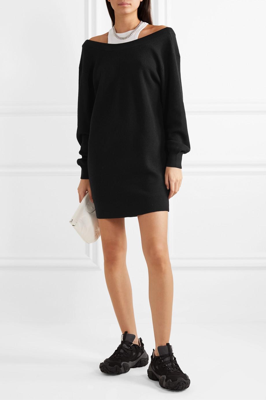 alexanderwang.t Mehrlagiges Minikleid aus Merinowolle und Stretch-Baumwoll-Jersey
