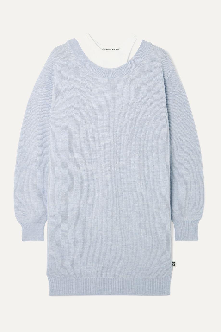 alexanderwang.t Layered merino wool and stretch-cotton jersey mini dress