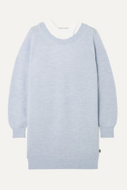 alexanderwang.t Layered merino wool and stretch-cotton jersey mini dress