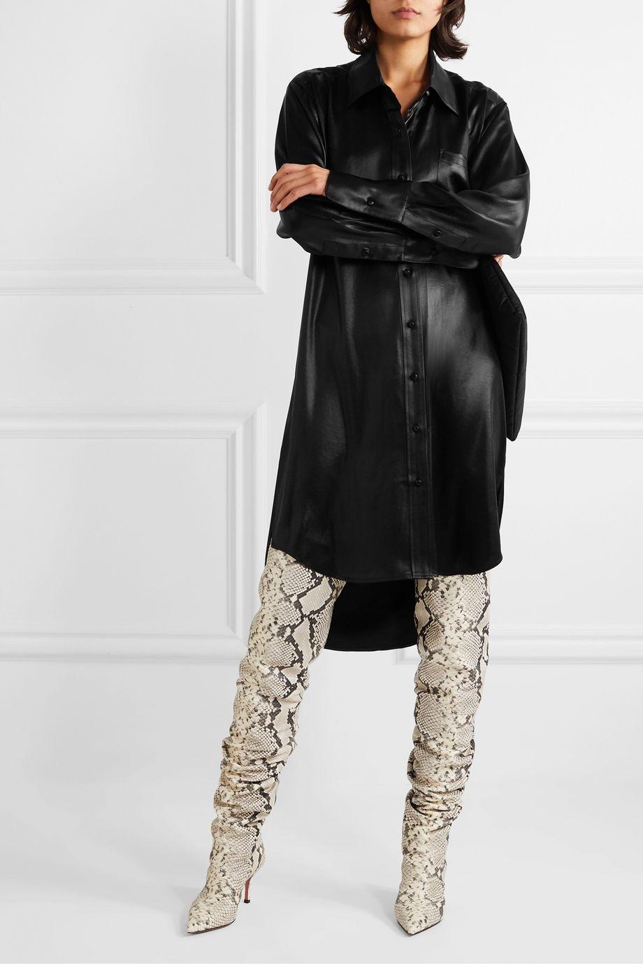 alexanderwang.t 涂层斜纹布衬衫式连衣裙