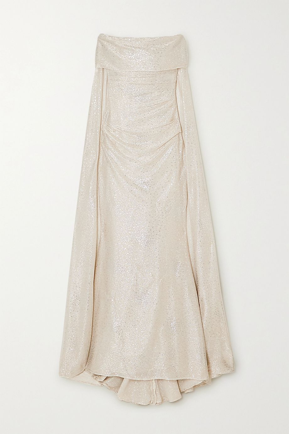 Talbot Runhof Bortolo cape-effect ruched metallic voile gown