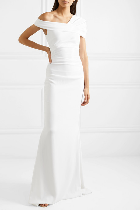 Bonette one-shoulder ruched stretch-crepe gown