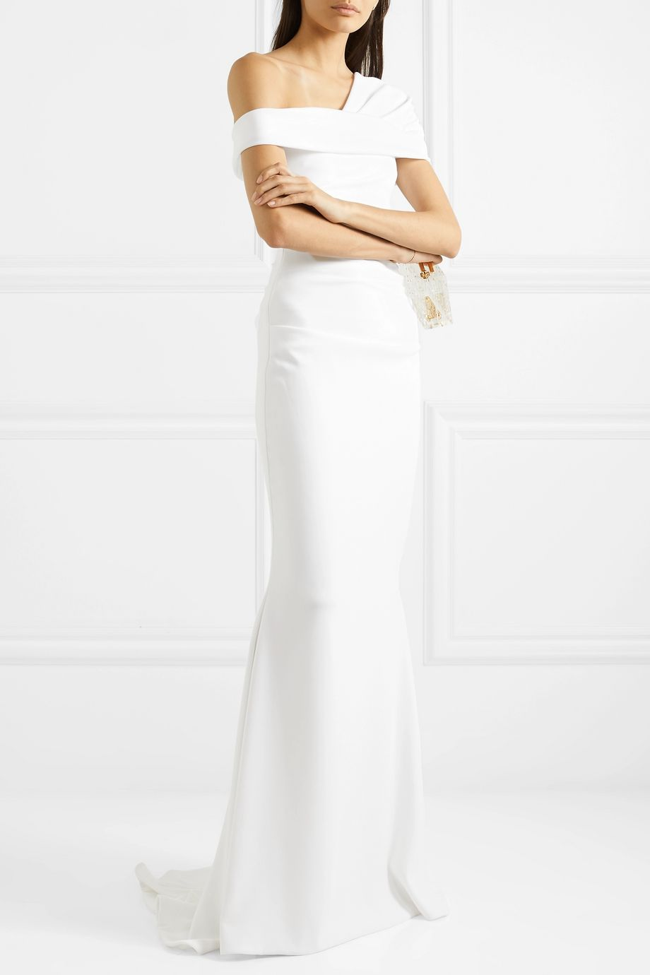 Talbot Runhof Bonette one-shoulder ruched stretch-crepe gown