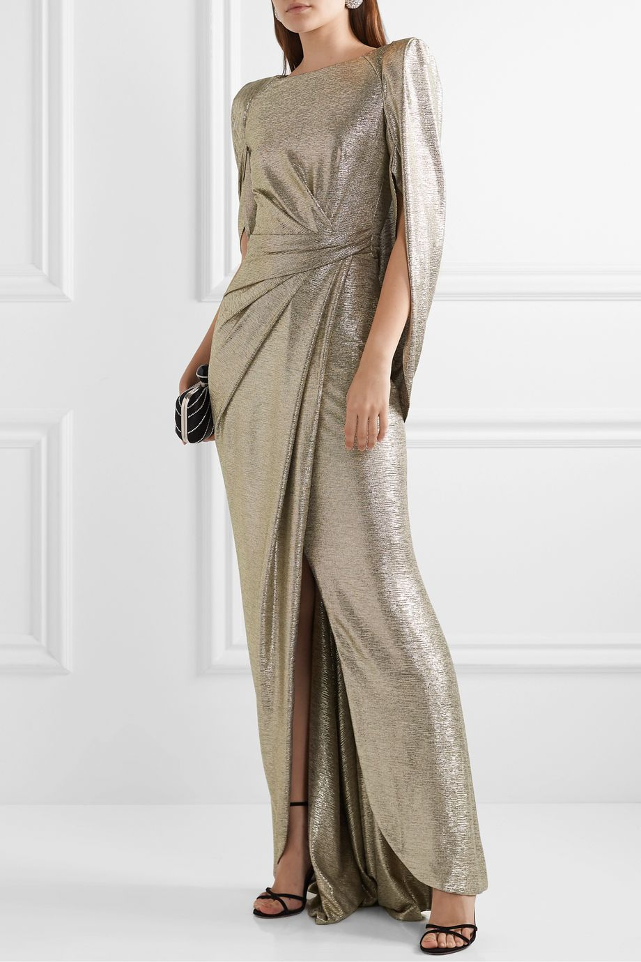 Talbot Runhof Socrates cape-effect draped metallic stretch-jersey gown