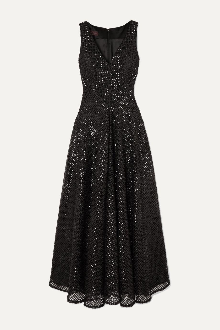 Talbot Runhof Tottori sequined macramé gown