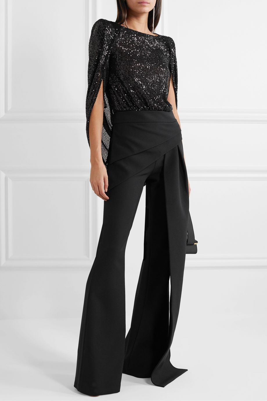 Talbot Runhof Tasashi cape-effect sequined metallic tulle bodysuit