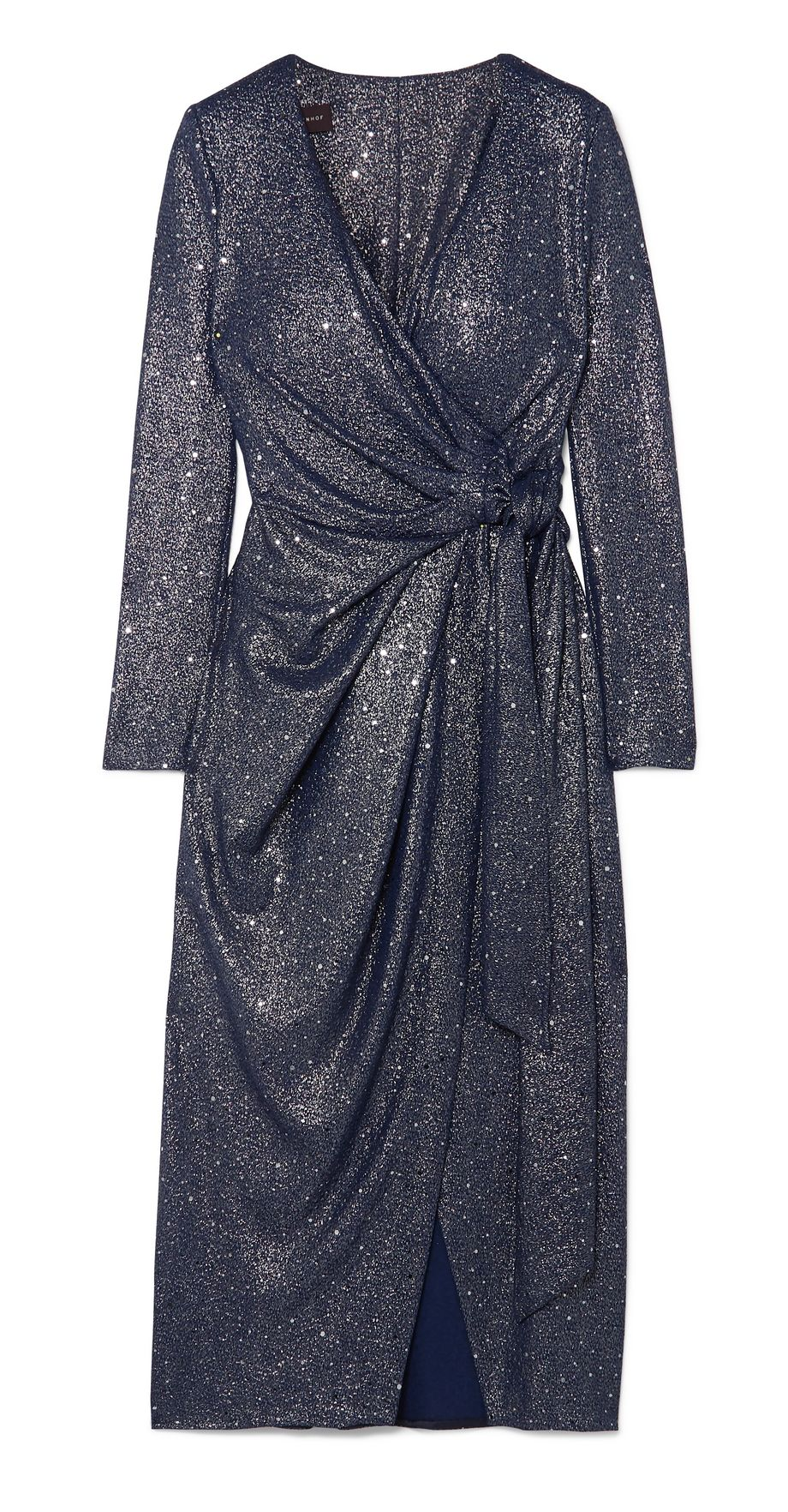 Talbot Runhof Botin sequin-embellished stretch-lamé wrap midi dress