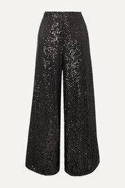 Gilia sequined tulle wide-leg pants