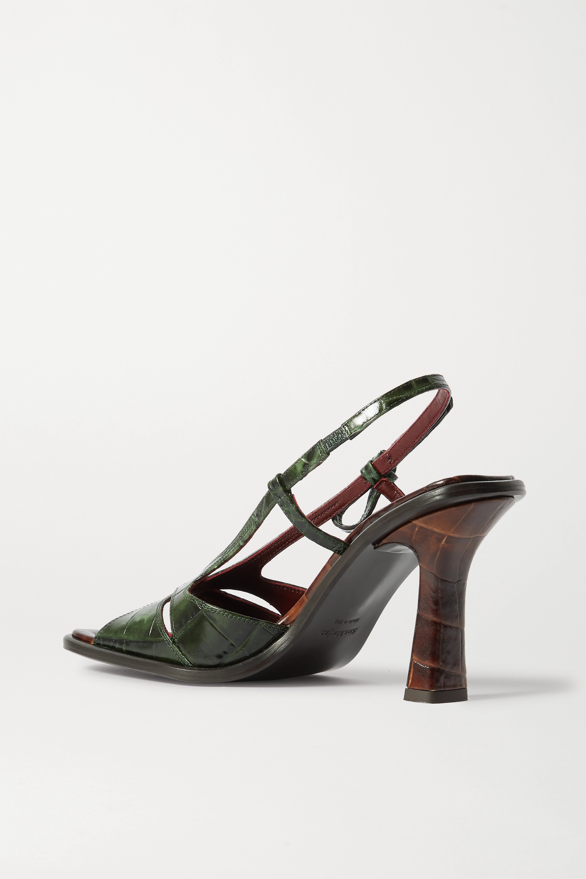 Sies Marjan Diana two-tone croc-effect leather slingback sandals