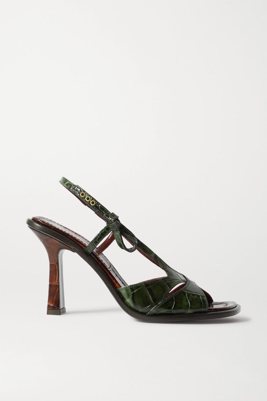 Sies Marjan Diana two-tone croc-effect leather slingback sandals