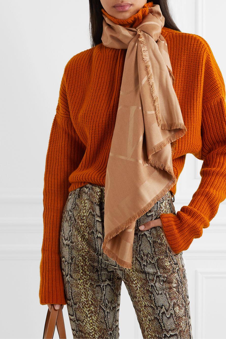 Valentino Valentino Garavani silk and wool-blend jacquard scarf