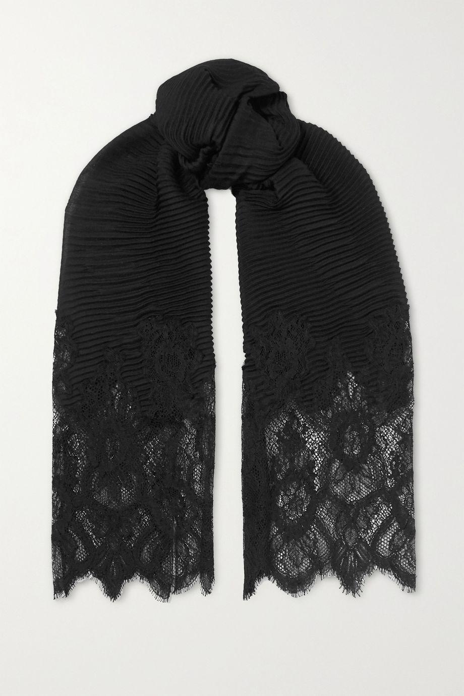 Valentino Valentino Garavani lace-paneled plissé cashmere and wool-blend scarf