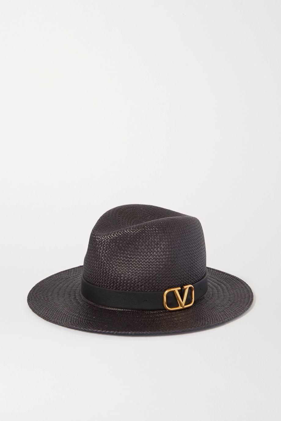Valentino Valentino Garavani embellished leather-trimmed straw fedora