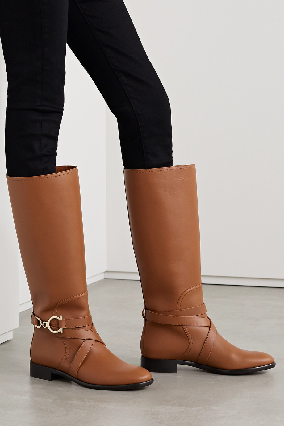 Salvatore Ferragamo Sara leather knee boots