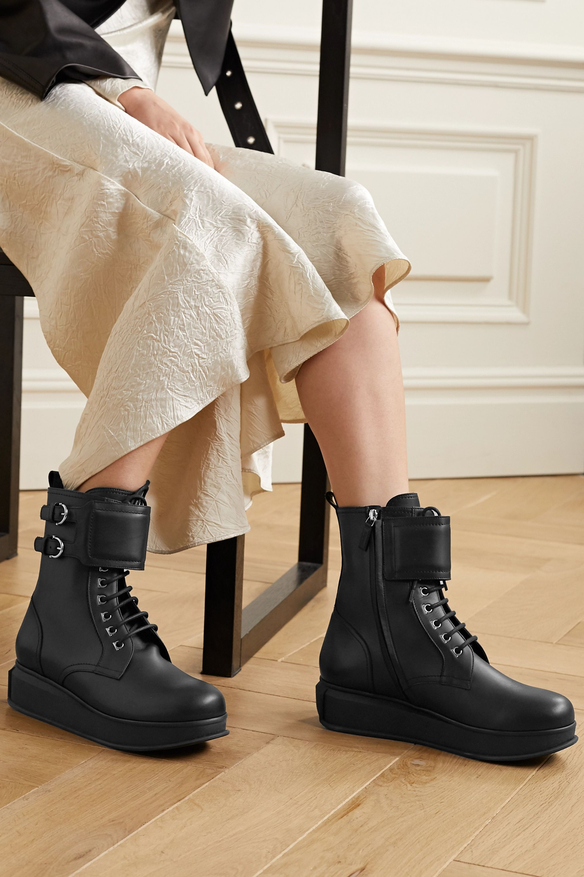 Black Karin leather ankle boots