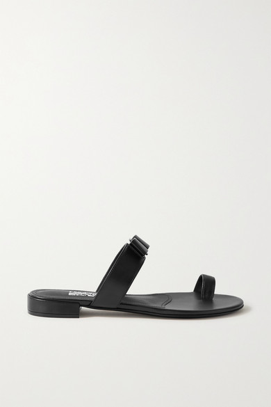 Salvatore Ferragamo Low heels LOUISA BOW-EMBELLISHED LEATHER SLIDES
