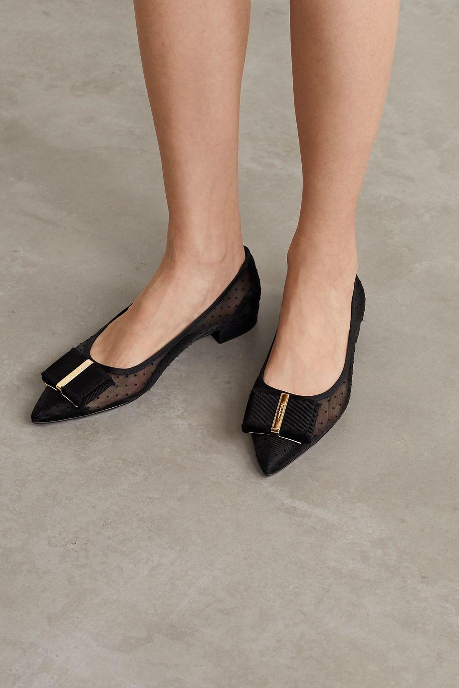 Salvatore Ferragamo Zeri Pois bow-embellished flocked polka-dot mesh point-toe flats