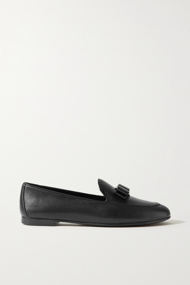 Salvatore Ferragamo Flats LESLEY BOW-EMBELLISHED LEATHER LOAFERS