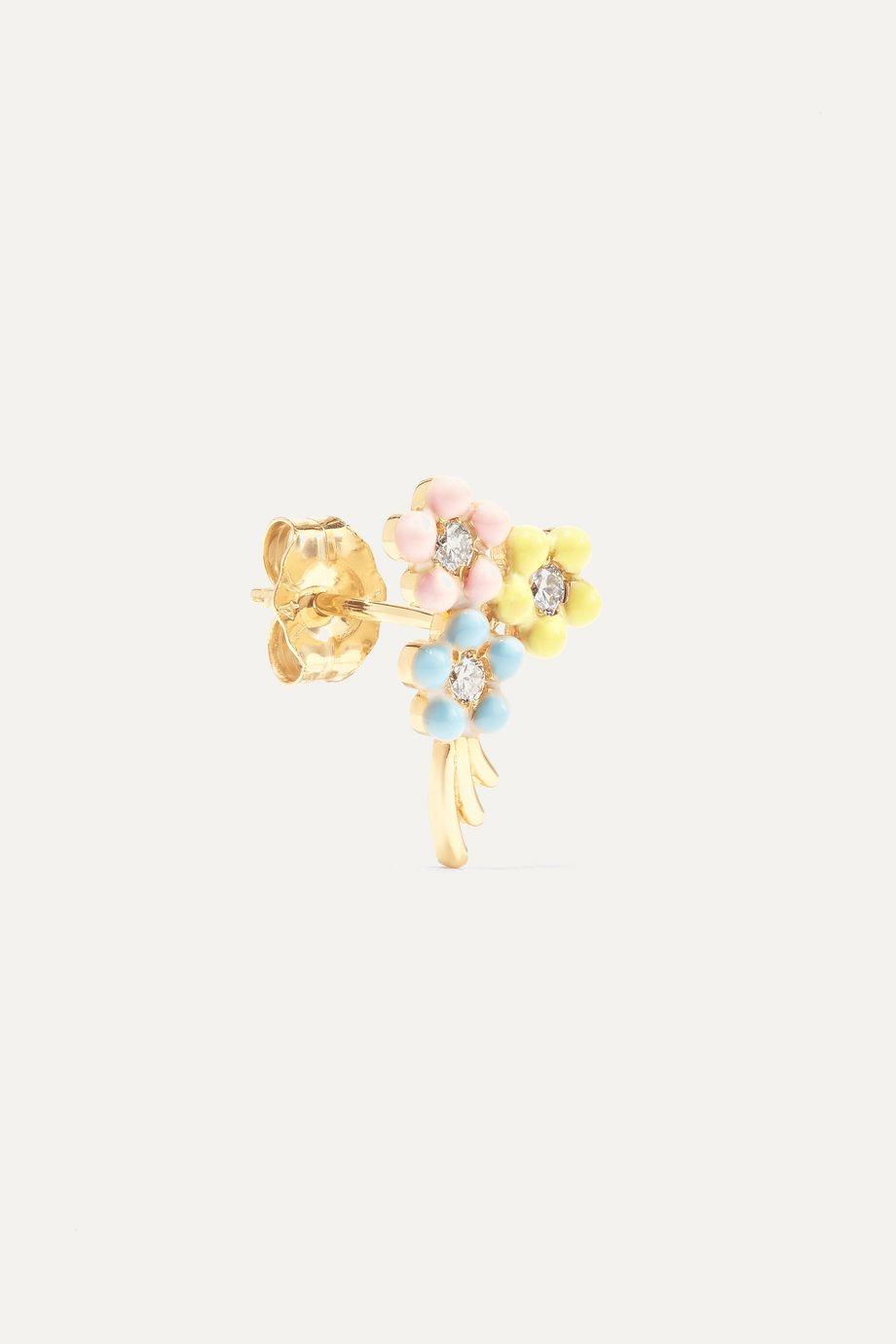 Alison Lou Daisy Bouquet Ohrring aus 14 Karat Gold mit Diamanten und Emaille
