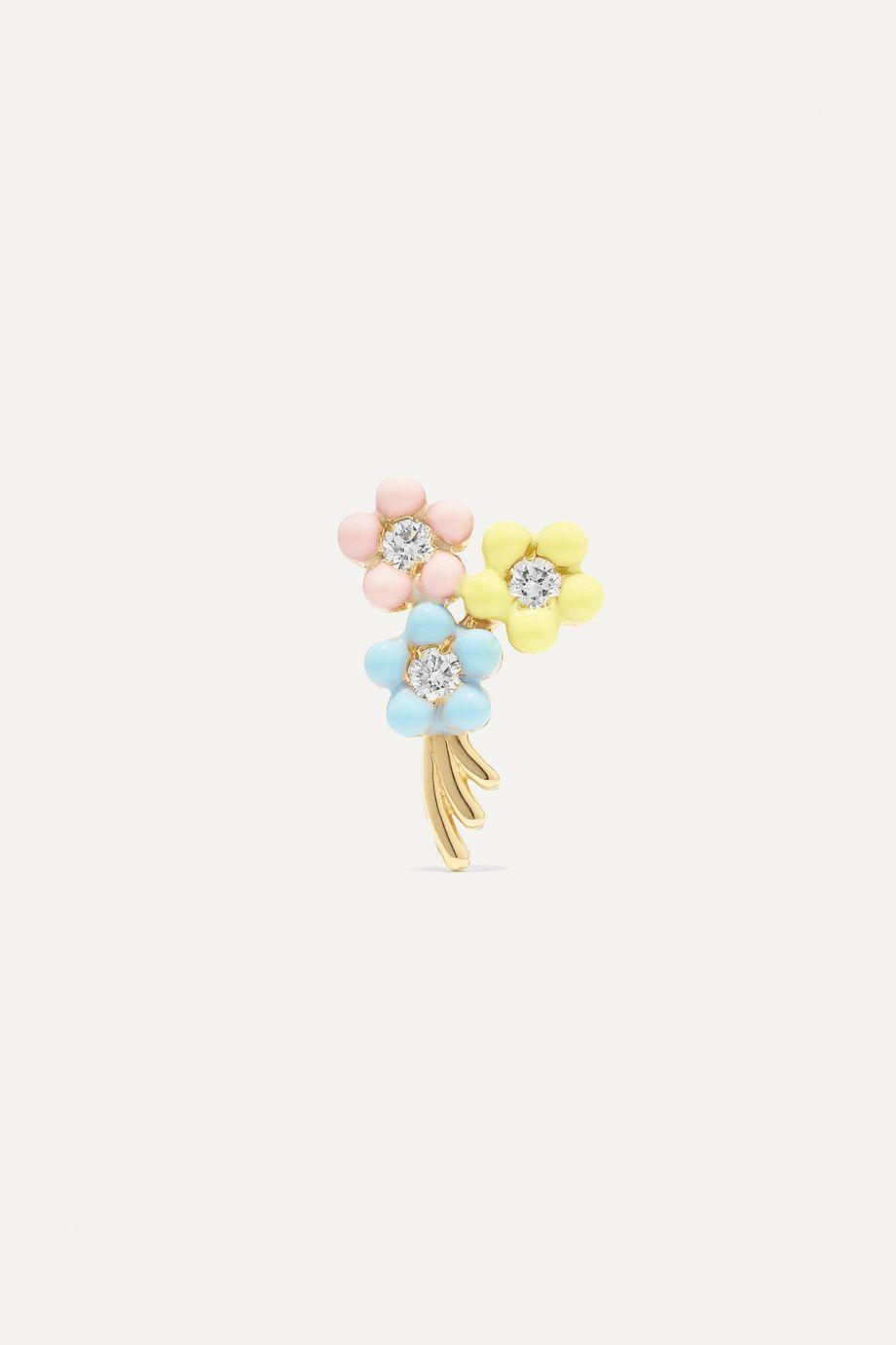 Alison Lou Daisy Bouquet 14-karat gold, diamond and enamel earring