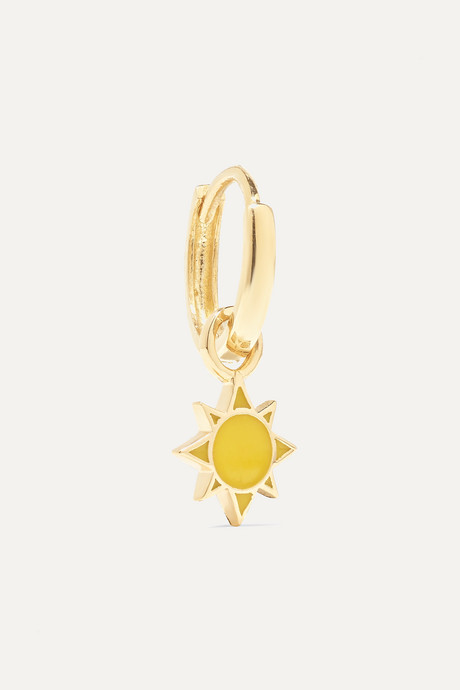 Gold Sun Huggy 14-karat gold and enamel earring   Alison Lou 5bBpy7