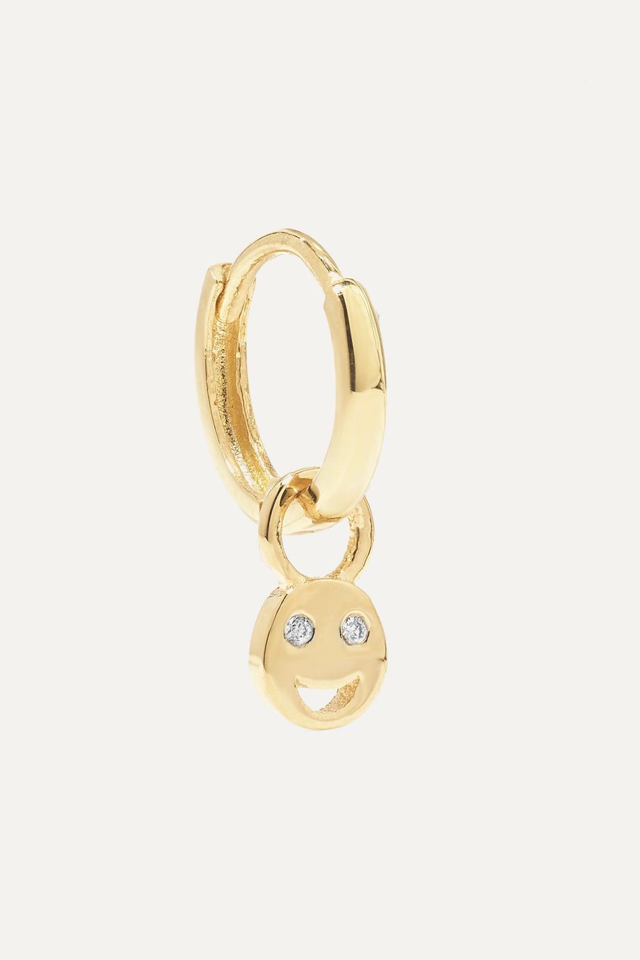 Alison Lou Tiny Smile Huggy 14-karat gold diamond earring
