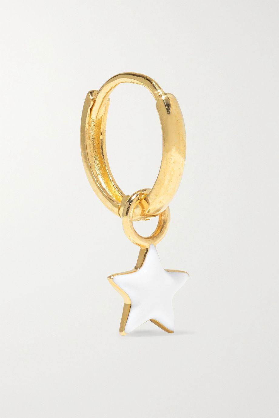 Alison Lou Tiny Star Huggy 14-karat gold and glow-in-the-dark enamel hoop earring